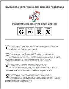 Выбор категории для вашего граватара