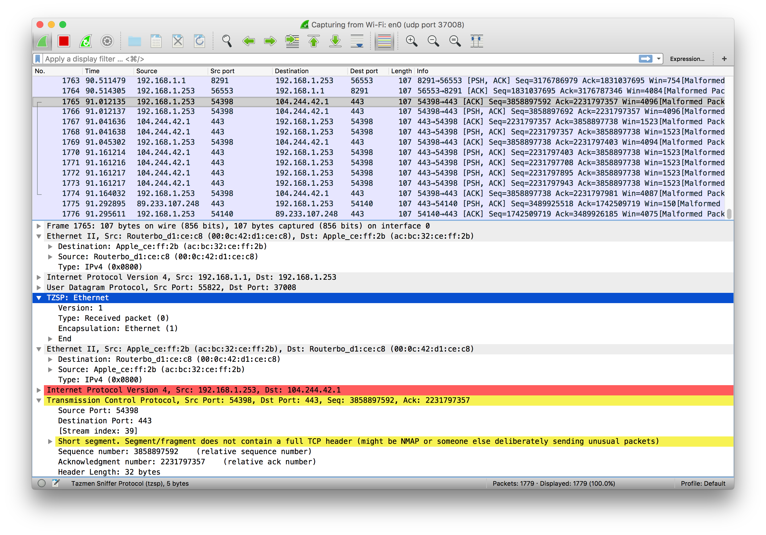 Live packet captures using MikroTik RouterOS and Wireshark